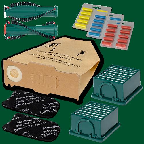 Filter Bürsten 6 Staubsaugerbeutel Papier geeignet Vorwerk Kobold 130 131